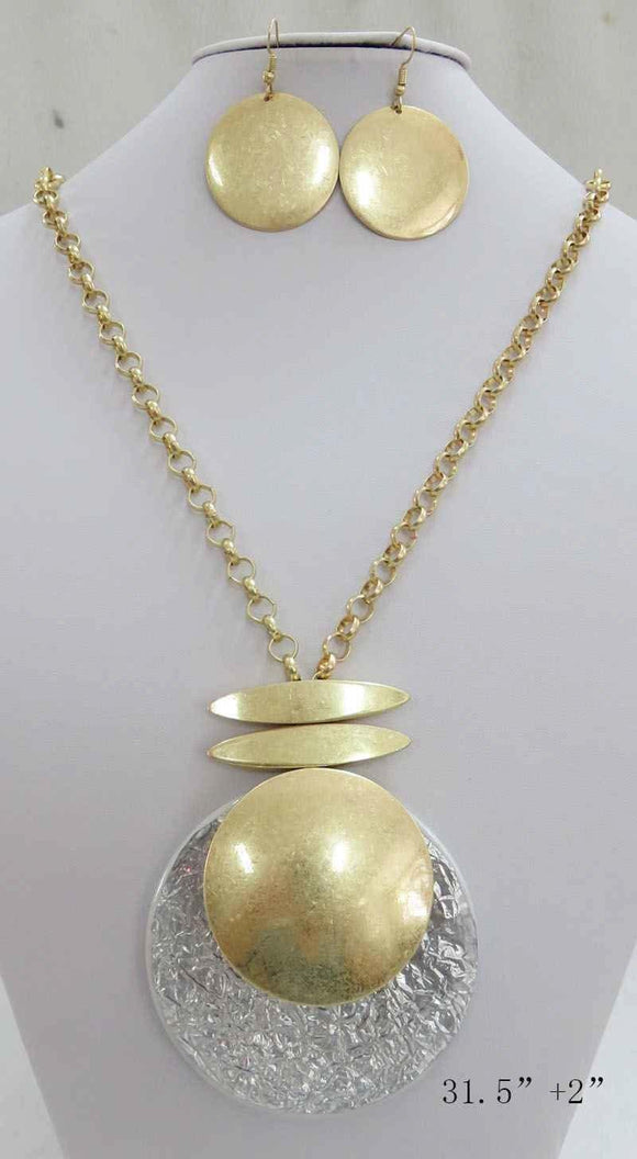 LONG GOLD NECKLACE SET CIRCLE SILVER PENDANT ( 3710 MGS ) - Ohmyjewelry.com