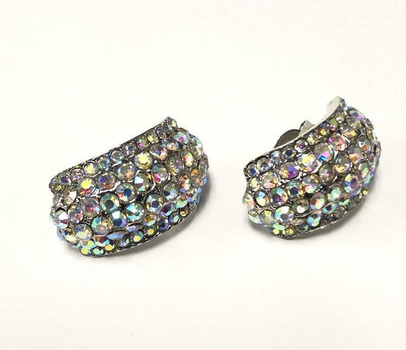 SILVER CLIP ON EARRINGS AB STONES ( 0209 C 3X )