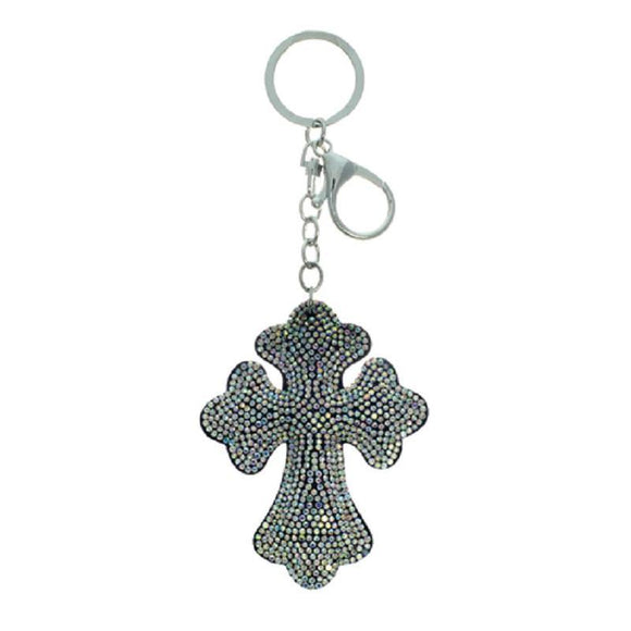 AB Rhinestone Cross Key chain ( 31146 AB )