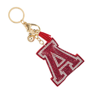 "Red and Clear Crystal ""A"" and Tassel Key chain ALABAMA ( 31312 )"