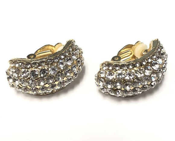 GOLD CLIP ON EARRINGS CLEAR STONES ( 0209 C 2C )