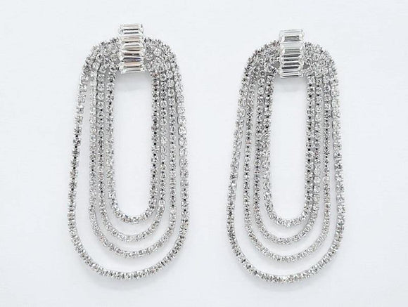 SILVER DANGLING EARRINGS CLEAR STONES ( 2339 RHCRY )