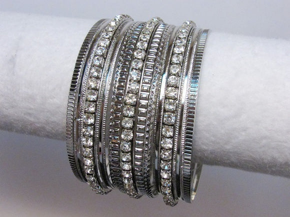 Silver and Rhinestone Multi Bangle Set ( 8782 )