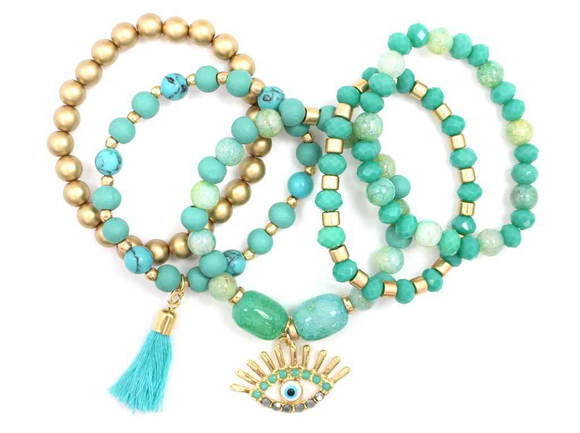 GOLD TURQUOISE STRETCH BRACELET EVIL EYE CHARMS ( 5203 )