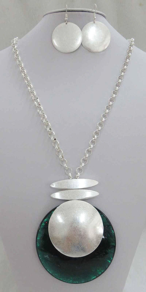LONG SILVER NECKLACE SET CIRCLE GREEN PENDANT ( 3710 MSGN ) - Ohmyjewelry.com
