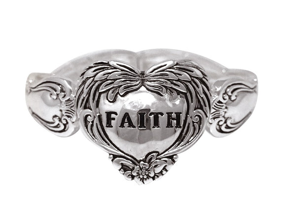 SILVER STRETCH BRACELET FAITH HEART ( 00616 AS )