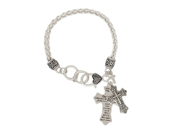 SILVER CROSS CHARM BRACELET LORDS PRAYER ( 00062 WS )