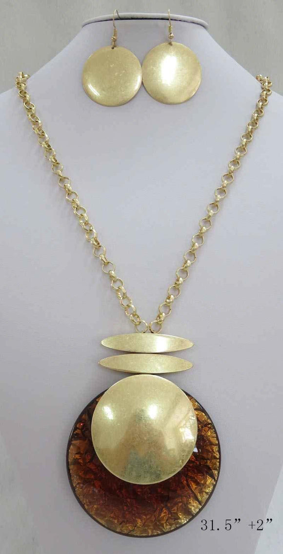LONG GOLD NECKLACE SET CIRCLE BROWN PENDANT ( 3710 MSBN ) - Ohmyjewelry.com