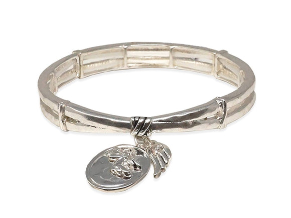 SILVER STRETCH BRACELET ANGEL BLESSING ( 00646 AS )