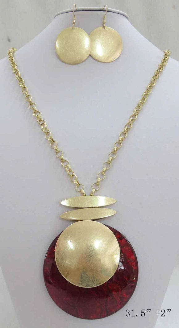 LONG GOLD NECKLACE SET CIRCLE RED PENDANT ( 3710 MGRD ) - Ohmyjewelry.com