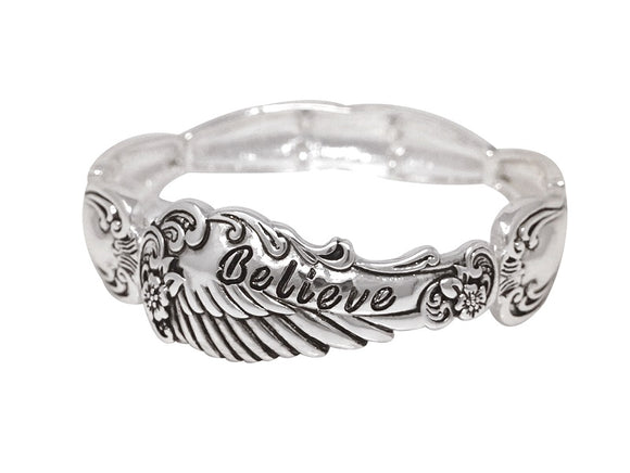SILVER BELIEVE STRETCH BRACELET ( 00615 AS )