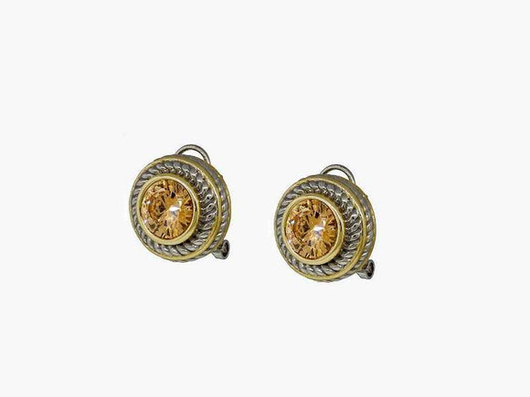 SILVER GOLD FRENCH CLIP ON EARRINGS CHAMPAGNE CZ CUBIC ZIRCONIA STONE ( 7717 CP )