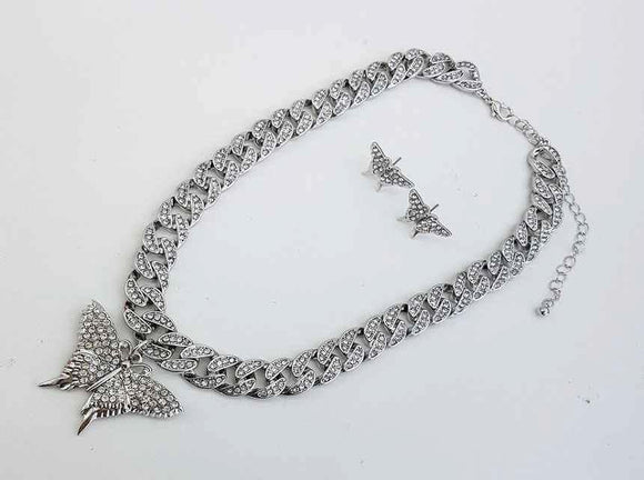 SILVER CHAIN NECKLACE SET BUTTERFLY CLEAR STONES ( 1154 )
