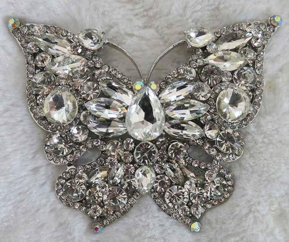 LARGE BUTTERFLY BROOCH PENDANT SILVER CLEAR ( 2977 )