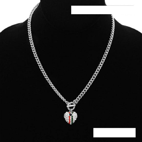 Small Silver RED GREEN Pave Rhinestone Heart Charm Toggle Necklace ( 2100 RDGMT )