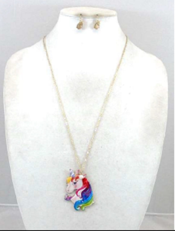 LONG GOLD NECKLACE SET UNICORN PENDANT ( 0736 )