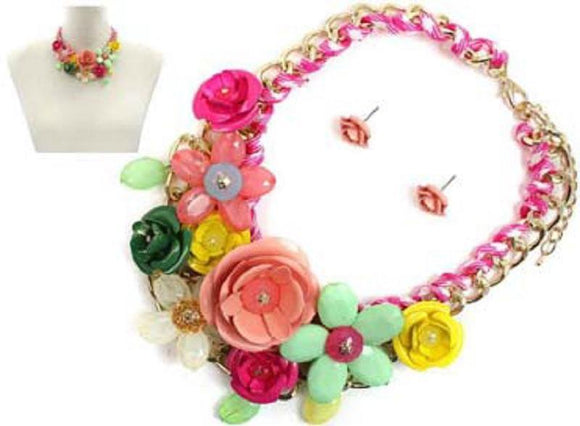 Multi Color Multi Flower Statement Necklace with Flower Studs ( 1234 GDMU2 )