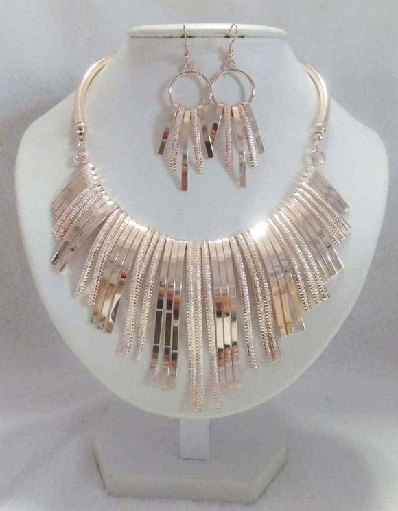 ROSE GOLD CHOKER NECKLACE SET ( 3161 )