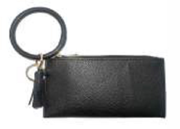 BLACK PLEATHER BAG WITH KEY RING TASSEL 20CM X 10CM ( 023 )
