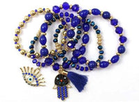 5 STRETCH BRACELET BLUE HAMSA EVIL EYE CHARMS ( 5190 )
