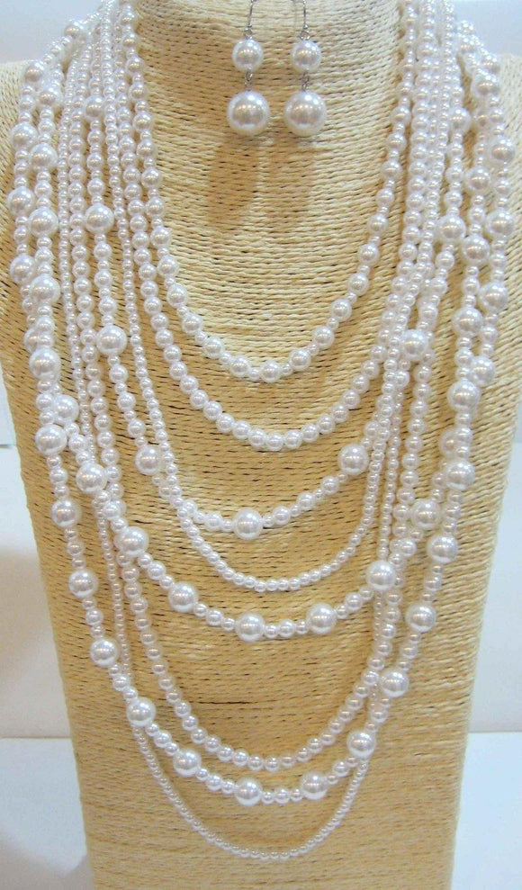 WHITE BALL MULTI LAYERED NECKLACE WITH EARRINGS ( 556 WT )
