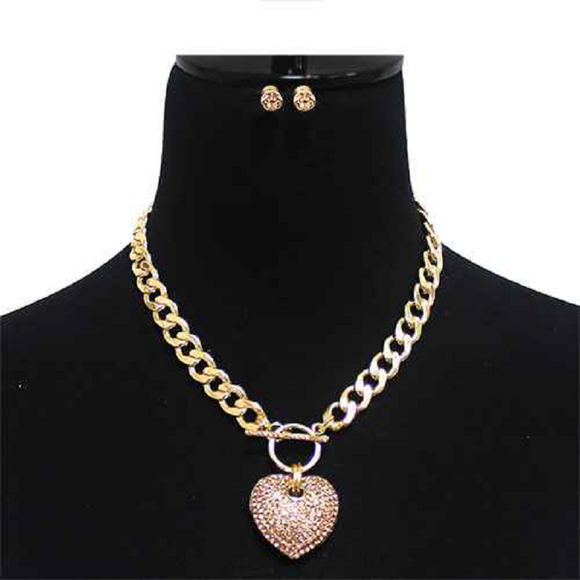Large Gold PEACH Rhinestone Puffy Heart Charm Toggle Necklace ( 7075 PCH )