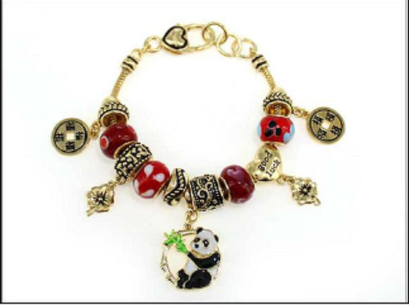 GOLD CHINESE PANDA BAMBOO RED CHARM BRACELET ( 05048 )