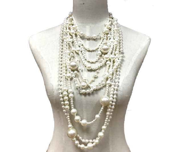 GOLD CREAM LAYERED PEARL NECKLACE SET ( 10162 )