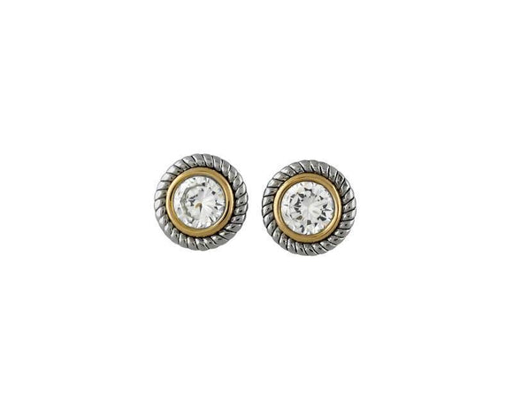 SILVER GOLD EARRINGS CLEAR CZ STONES ( 6547 )