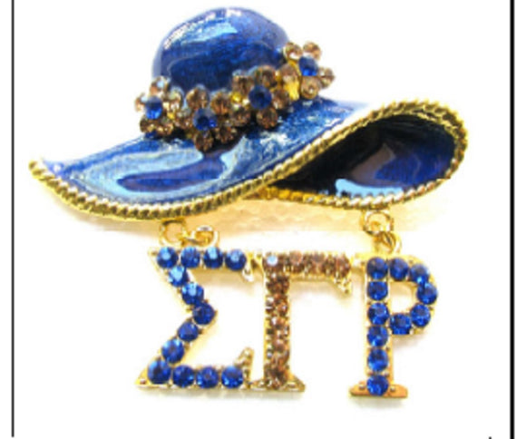 GOLD BLUE HAT BROOCH SIGMA GAMMA RHO ( 2672 )