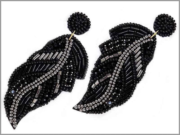 BLACK BEAD LEAF EARRINGS ( 2805 )