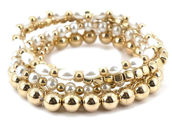 GOLD STRETCH BRACELET PEARLS ( 5761 G )