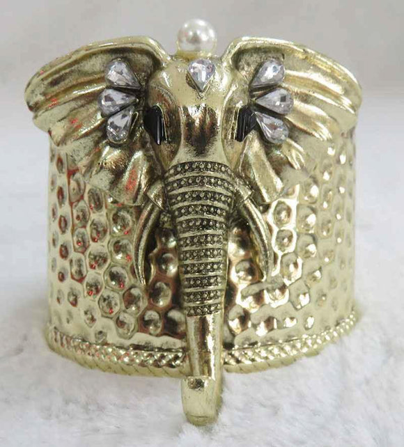 ANTIQUE GOLD HAMMERED ELEPHANT HEAD CUFF BANGLE CLEAR STONE CREAM PEARL ( 3935 AG )