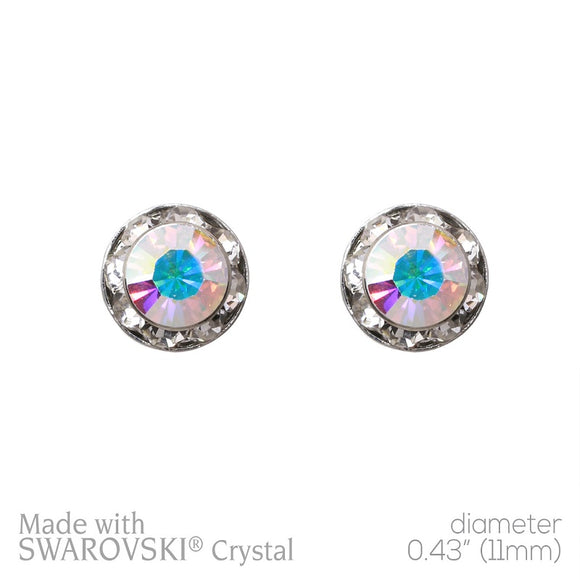 Small 11mm AB and Clear Rondelle Crystal Stud Earrings ( 40003 )