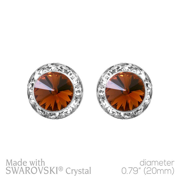 20mm Large Brown Rondelle Crystal Stud Earrings ( 40007 )