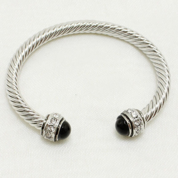 SILVER BLACK CLEAR STONES TWISTED CUFF BANGLE ( 203 )