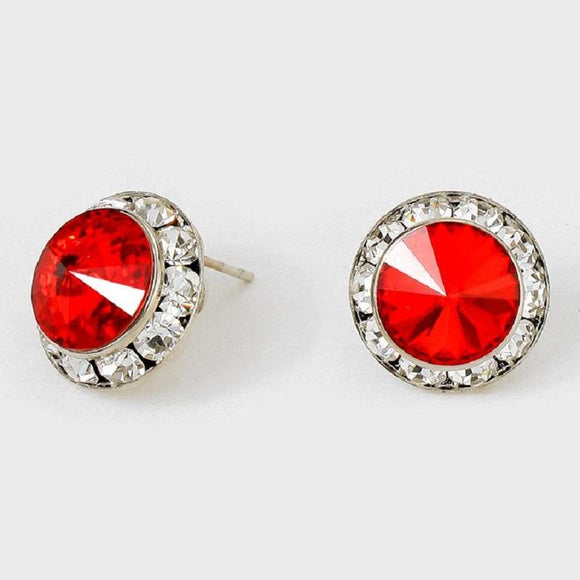 16mm Medium Silver Red Rondelle Crystal Stud Earrings ( 47 14 )