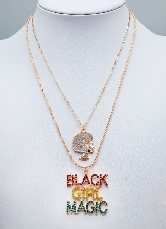 GOLD BLACK GIRL MAGIC NECKLACE RED YELLOW GREEN STONES ( 3129 GDMT )