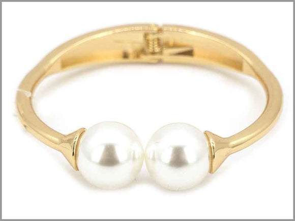 GOLD CREAM PEARLS BANGLE ( 5747 G )