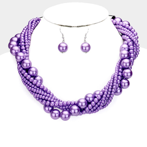 Lavender Purple Twisted Pearl Necklace with Earrings ( 6549 )