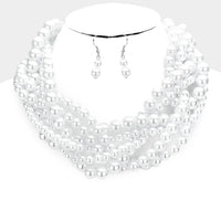 White Braided Pearl Necklace with Dangling Earrings ( 091 )