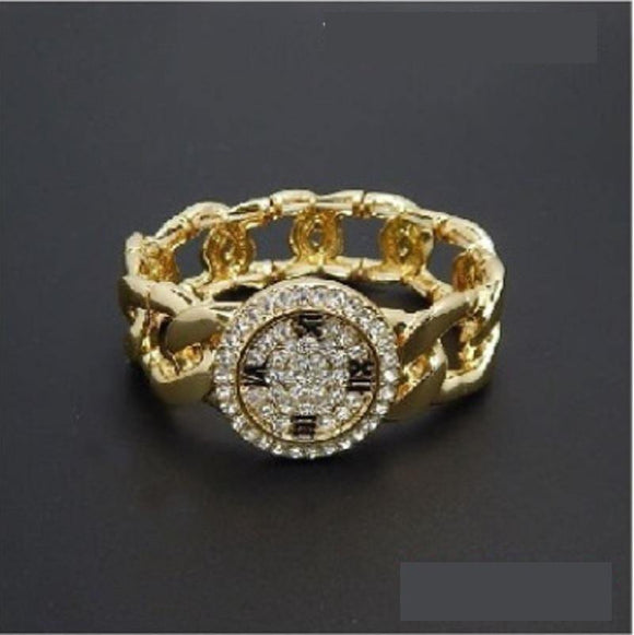GOLD STRETCH BRACELET WATCH DESIGN CLEAR STONES ( 2109 GDCLR )