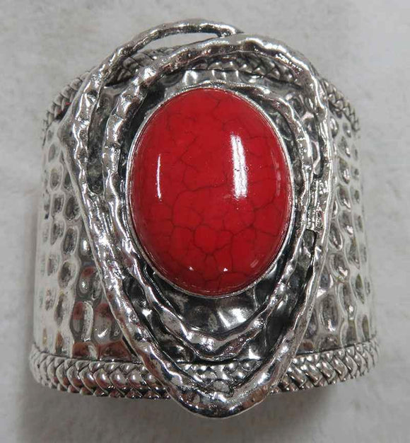 SILVER CUFF BANGLE LARGE RED STONE ( 3703 )