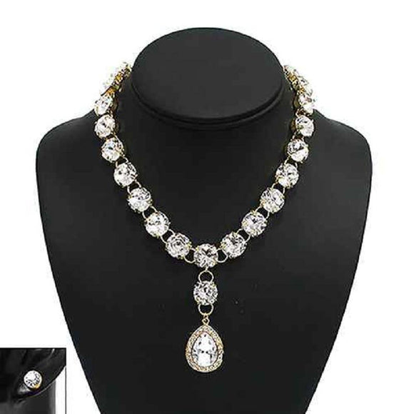 GOLD NECKLACE SET CLEAR STONES ( 1016 G )