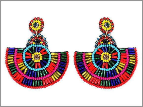 DANGLING MULTI COLOR BEAD EARRINGS ( 2674 )