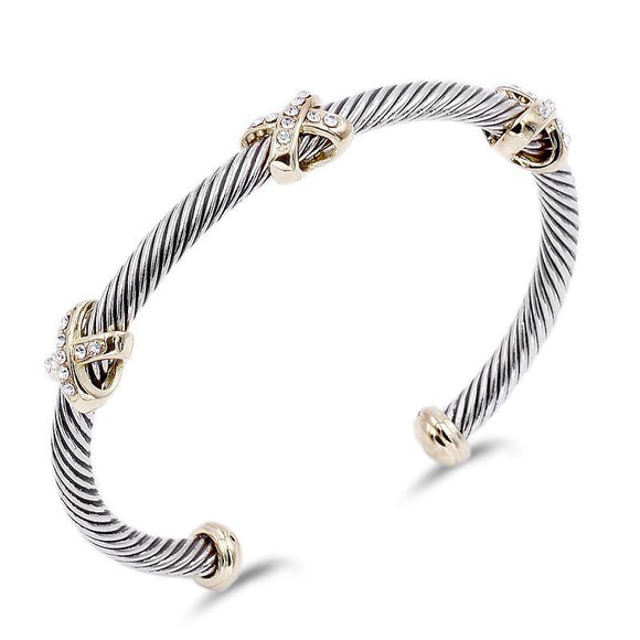 SILVER GOLD TWISTED CUFF BANGLE CLEAR STONES ( 7067 )