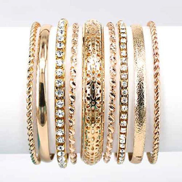 9 PIECE GOLD BANGLE SET ( 8005 GDCLR )