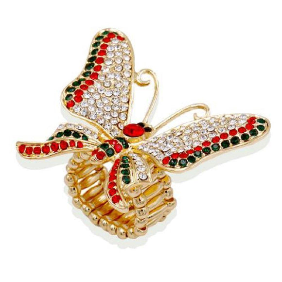 GOLD BUTTERFLY STRETCH RING CLEAR RED GREEN STONES ( 2189 GDGR ) - Ohmyjewelry.com