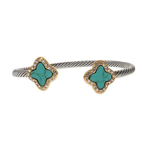 Two Tone TURQUOISE Clover Cable Wire Cuff Bracelet ( 1022 )