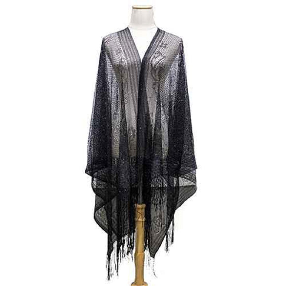 BLACK KIMONO SWIM COVER UP SHINY ( 8193 )